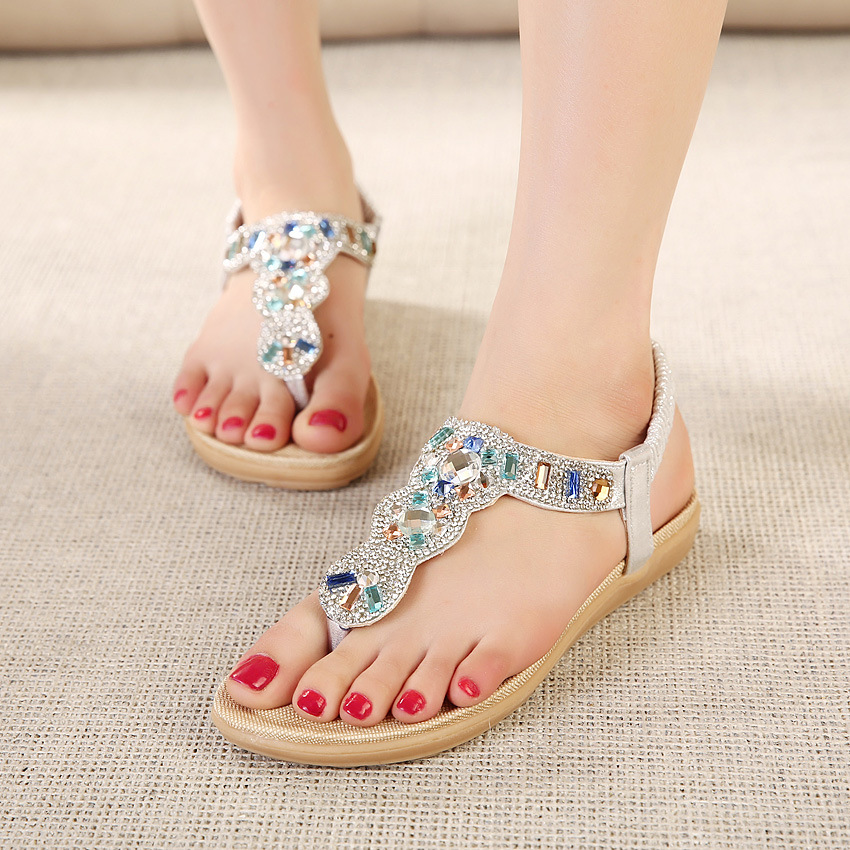 SIKETU Bling Rhinestones Sticked Low Heel Wedges Summer Woman Sandals Beach Holiday Vacation Cool Convenient Taking Lady Shoes