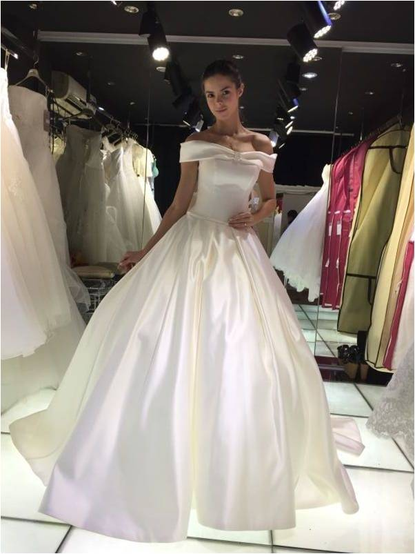 a6ae1f7d141f Slip Satin Off Shoulder Ball Gown Long Floor Length Custom Made Formal Bridal  Gowns Designs NW016 alibaba bridal gowns