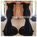 2017 Frete Grátis Off The Shoulder Black Lace Sexy Sereia prom dress vestido de noite vestidos vestido de festa longo de renda estoque
