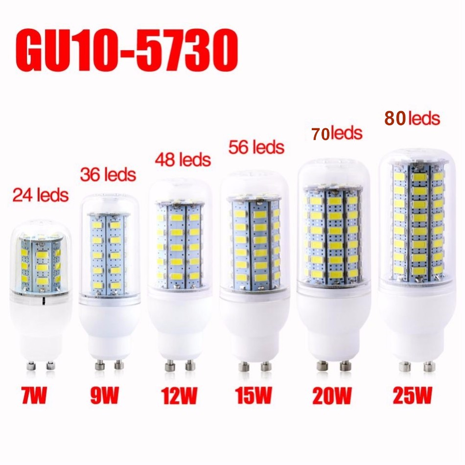 Zeatrend 20pcs Gu9 Gu10 E14 E27 B22 15w 56led Lamp 10 220v 5730smd Led Corn Bulb Candle Spot Light Chandelier Free Dhl Incandescent Bulbs Aliexpress