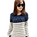 2017 New Super Macio Listrado Mohair Camisola Mulheres Primavera Outono O Long neck-sleeved Pullovers Coreano Moda Azul Marinho Venda quente