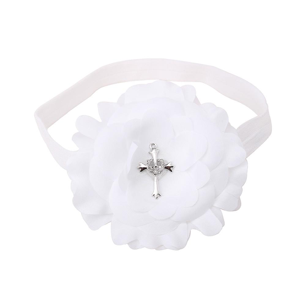 Delebao Brand Of Design Pure White Headband For 0-12 Month Christening/Baptism Baby Headband