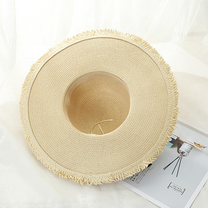 2019 big brim sun hat Visor for woman foldable Chapeau Feminino hand made straw hat female casual shade hat summer hat beach cap in Women 39 s Sun Hats from Apparel Accessories