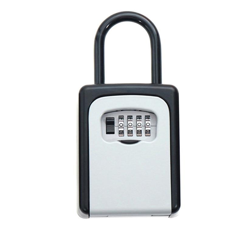 Safty Key Lock Box Set-Your-Own Combination Portable Aluminium Alloy Key Safe Box Secure Box Security Key Holder (White)(China)