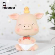 ROOGO home decoration accessories little baby animal shape car ornament shook his head statue creative cartoon resin figurines