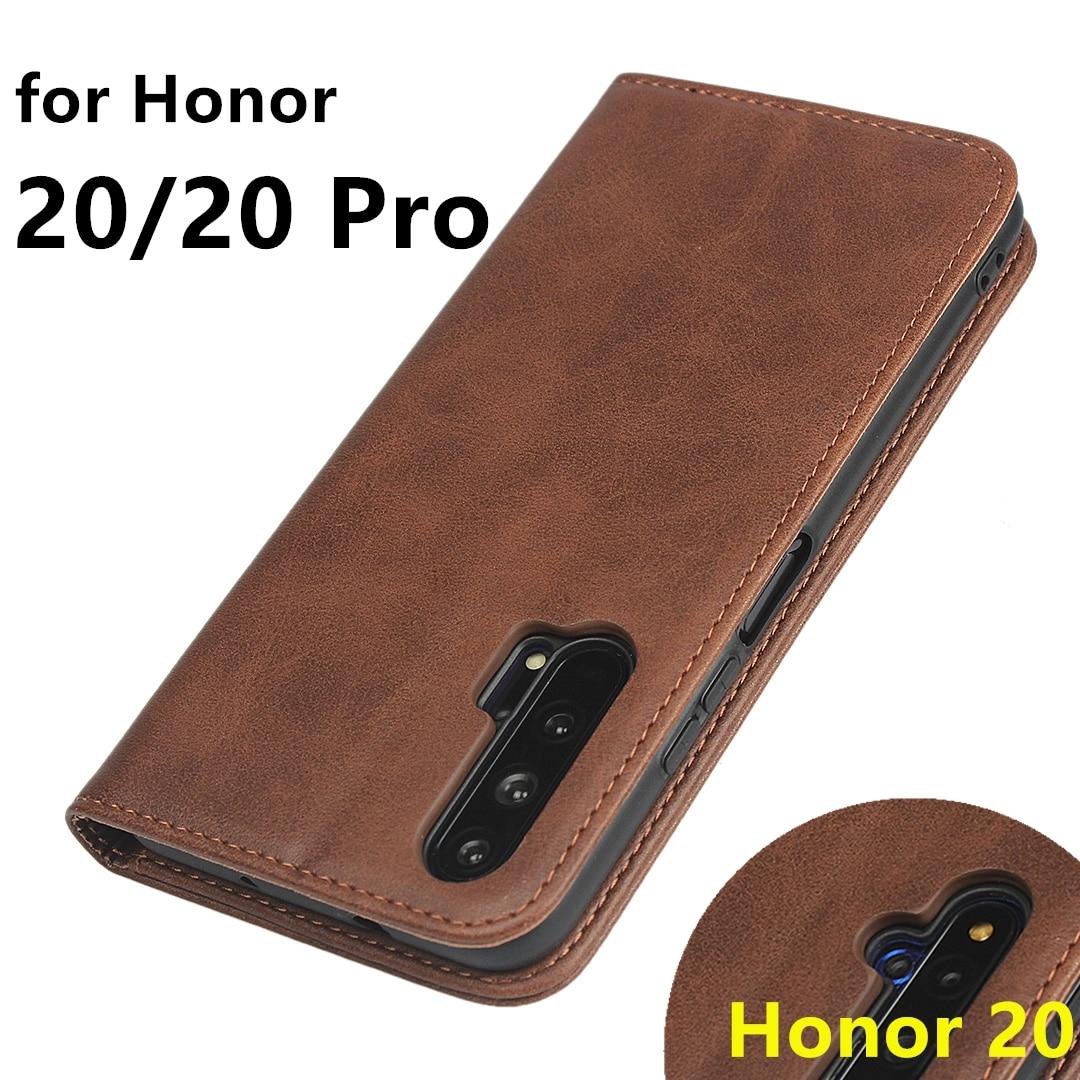 Caso de couro para huawei honor 20 caso da aleta titular do cartão coldre atração magnética capa para huawei honor 20 pro honor20