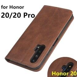 Estojo de couro para o Huawei Honor 20 titular do cartão Do caso Da Aleta Coldre 20 atração Magnética Tampa Do Caso para Huawei Honra Pro honor20