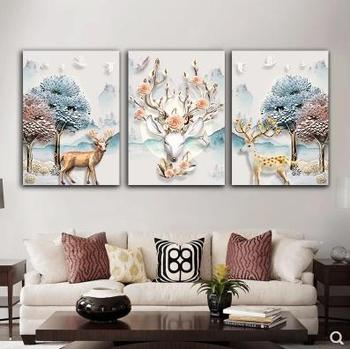 Nordic wall decoration background wall painting modern minimalist wall frameless painting elk triple painting-14
