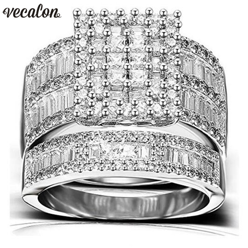 Vecalon Charm Promise Ring Set 925 sterling silver Princess Cut Zircon Cz Engagement Wedding band rings for women Bridal Jewelry vecalon heart shape jewelry 925 sterling silver ring 5a zircon cz diamont engagement wedding band rings for women bridal gift
