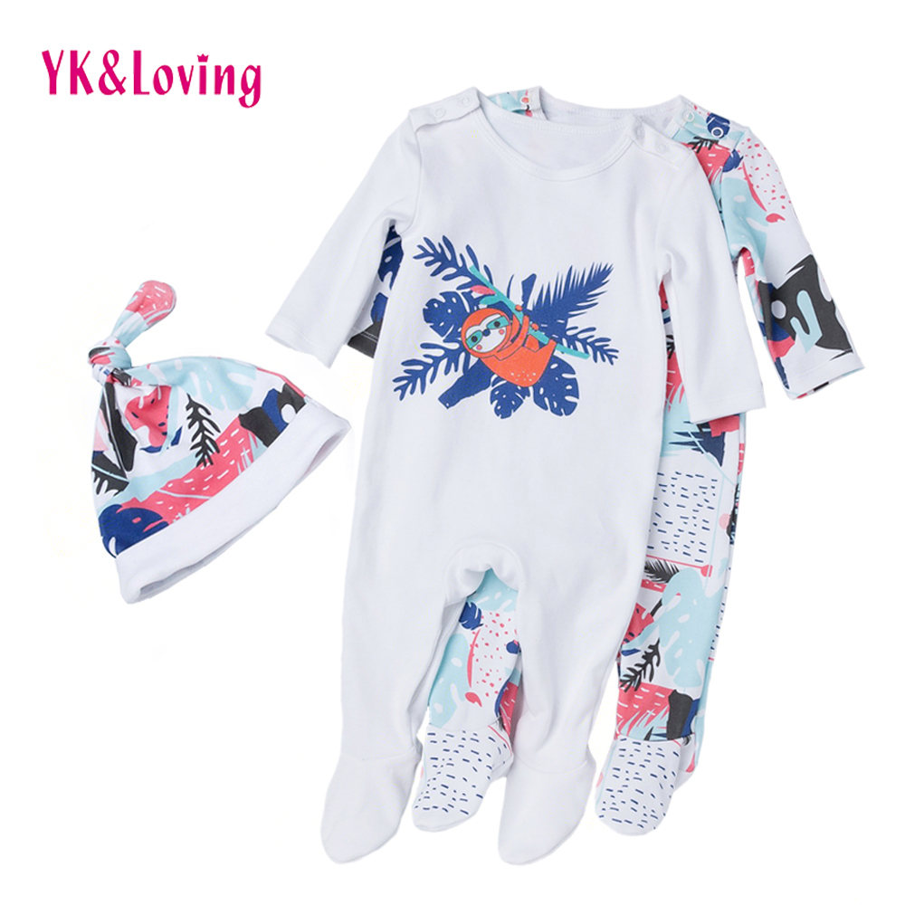 Baby Rompers Long Sleeves Boys&Girls 100% Cotton Cartoon Animal Bees Printed Newborn Jumpsuit and Hat 2 pcs Winter Clothes 2017 cotton baby rompers set newborn clothes baby clothing boys girls cartoon jumpsuits long sleeve overalls coveralls autumn winter