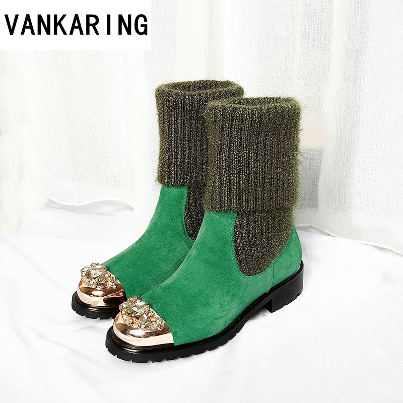 VANKARING brand leather+woollen autumn winter mid calf shoes woman ankle boots cozy round toe black casual shoes warm snow bootsVANKARING brand leather+woollen autumn winter mid calf shoes woman ankle boots cozy round toe black casual shoes warm snow boots