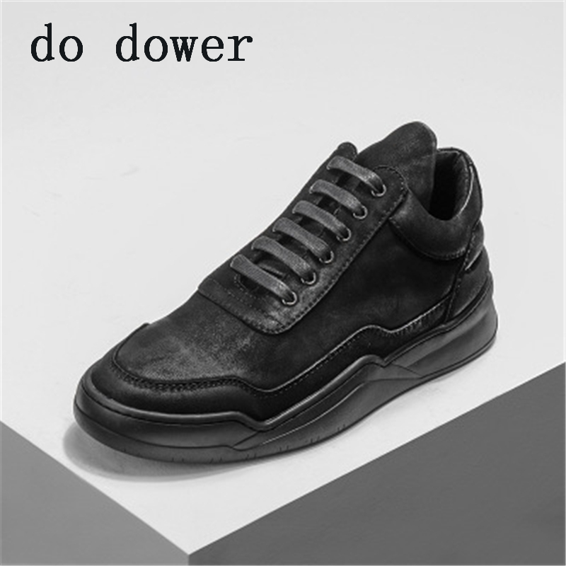 2018New Men Genuine Leather Shoes Luxury Trainers Summer Male Adult Sneaker Casual Old Suede Flats Lace-Up Spring Black Shoes new men genuine leather shoes luxury trainers summer male adult shoes casual flats solid spring black lace up shoes