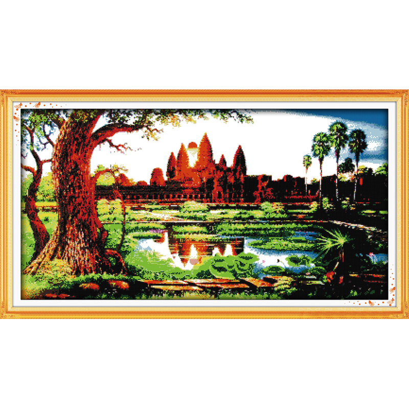 The sunrise at the temple of Angkor Wat Chinese cross stitch kits Ecological cotton printed 14CT 11CT DIY Christmas decorations in Package from Home Garden