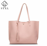 STXL 2017 New Korean Women S Handbags Simple Fashion Handbags Shoulder Bag Tassel Wild