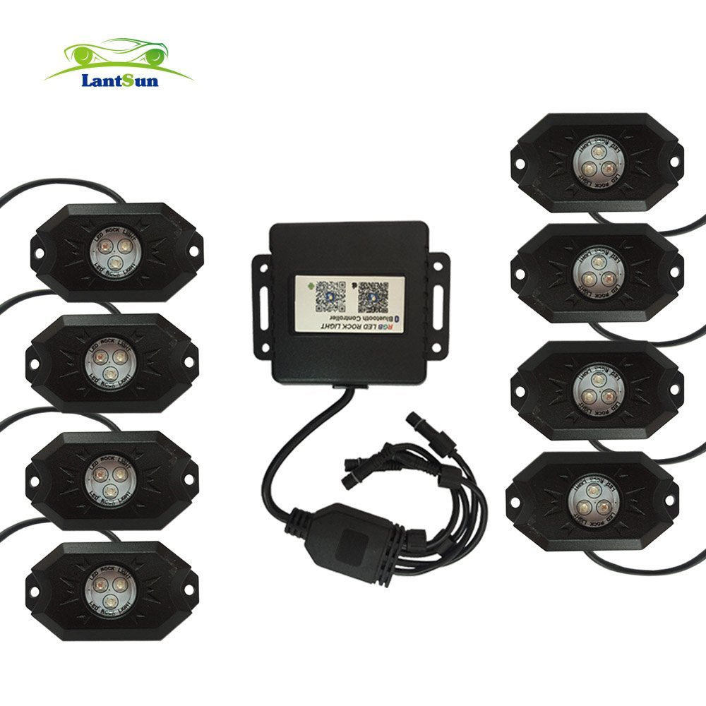 ФОТО J143 Set Lantsun easy install 8 pods LED RGB rock lights decorate light Controlled by Cell App fits Jeep 4x4 4WD wrangler A4