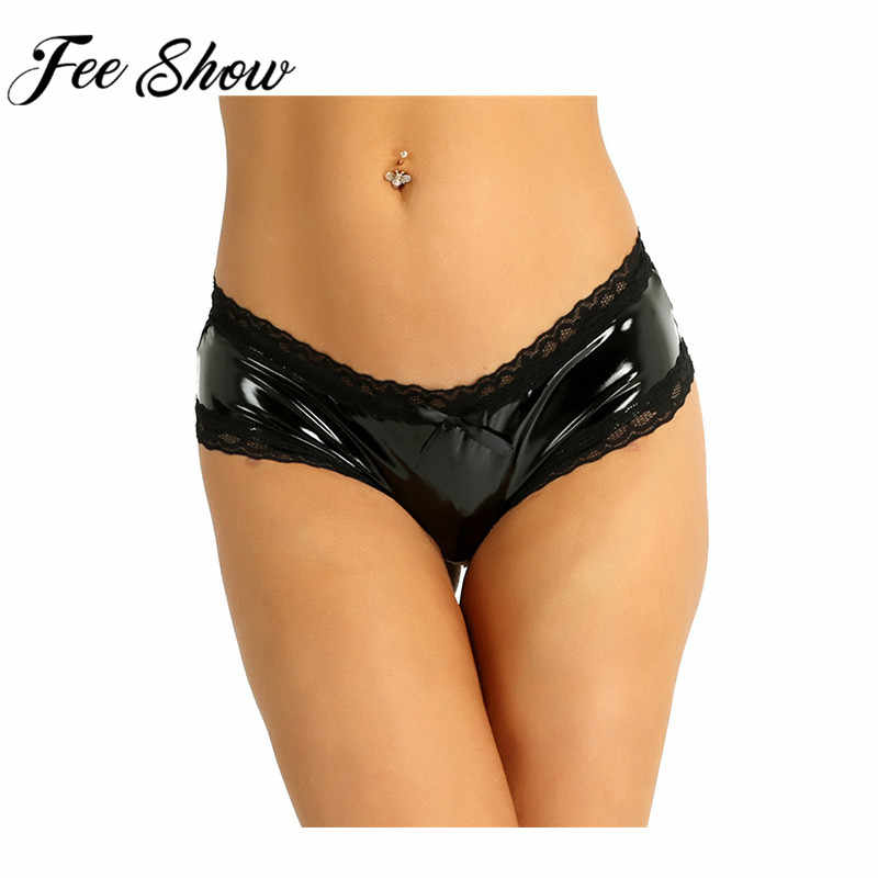 7019a5b0af48 Detail Feedback Questions about Feeshow Sexy PVC Open Crotch Panties Women  Lingerie Lace V Back Mini Briefs Women Exotic Panties Underwear Sexy Lace  ...