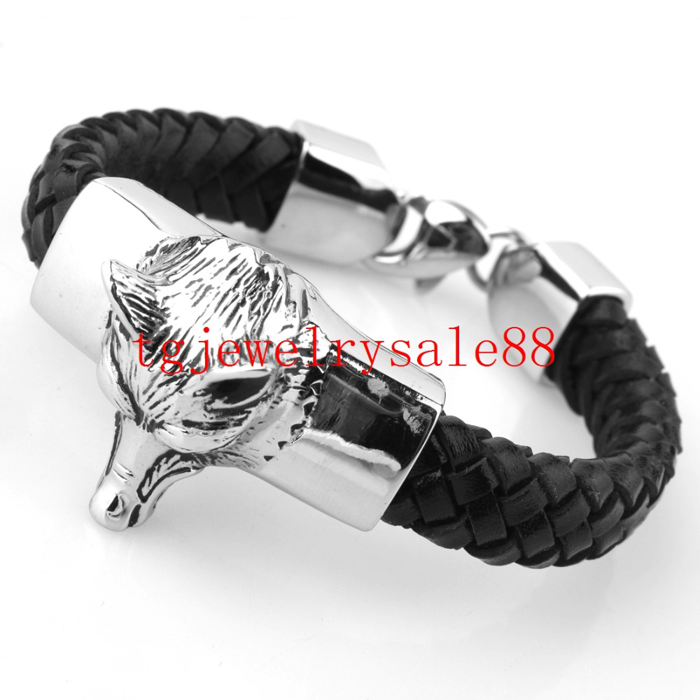 9331e65bc902b High Quality Black Braid Leather Cool Mens Bracelet Silver Tone Wolf Head  Stainless Steel Cuff Bangle Jewelry 15mm*21cm-in Chain & Link Bracelets  from ...