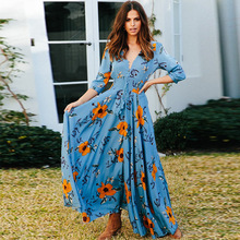 ZOGAA Women Girls Floral Print Summer Dress Sexy Long Sleeve V Neck Maxi Dresses Ladies Split Beach Vestidos Boho Sundress