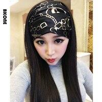 Black Floral Headband for Women Wide Satin Fabric Bandana Cross Ear Turban Floral Maquiagem Headwear Party Hairband