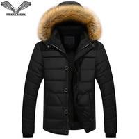 VISADA JAUNA 2017 패션 남성 겨울 재킷 캐주얼 코트 높은 품질 후드 코트 남성 눈 재킷 캐주얼 남성 파카 5XL N6688