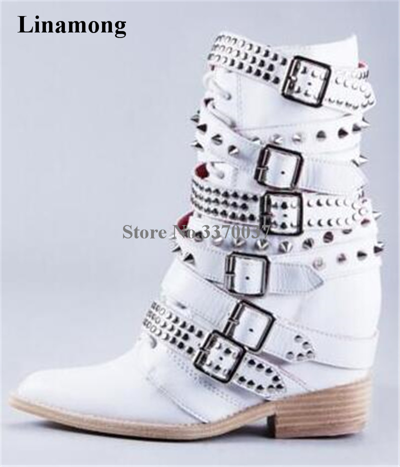 Women Winter Fashion White Leather Buckles Rivet Wedge Mid calf Boots Pointed Toe Height Increasing Lace