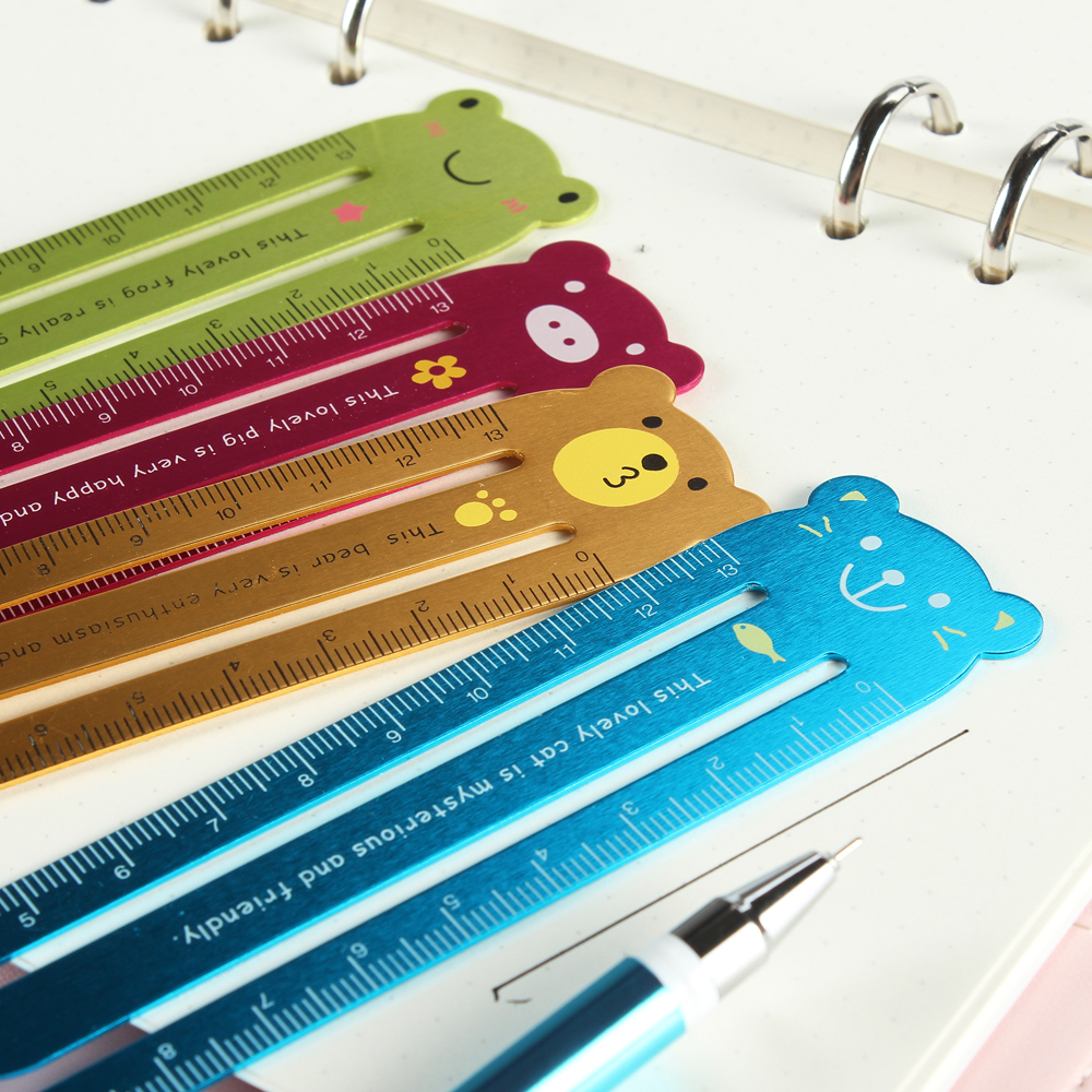 Cute Cartoon Kawaii Animals Series School Student Bookmark Ruler Stationery 13mm