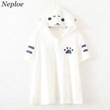 Japanese Style Cat Cartoon Women T shirt 2017 New Arrivals Short Sleeve T-shirt Summer Fashion Casual Ladies T-shirts 65033