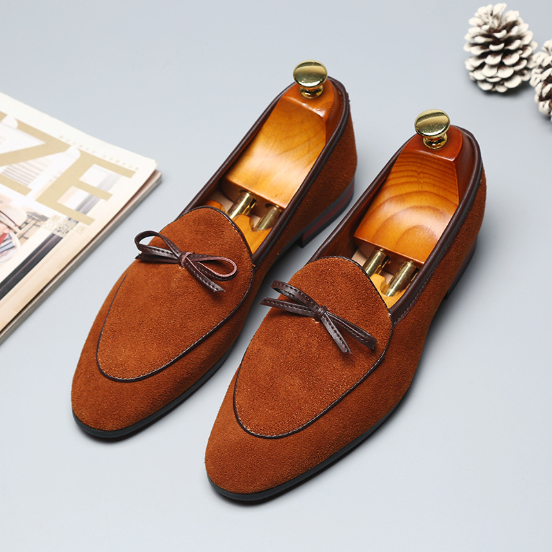 2019 Gentlemen Bowknot Wedding Dress Male Flats Casual Slip On Shoes Black Suede Leather Loafers Men Formal Shoes in Men 39 s Casual Shoes from Shoes