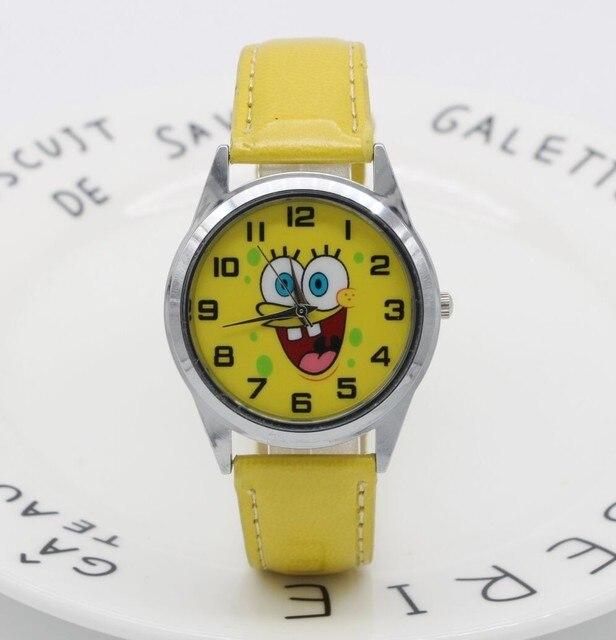f6034a2c11f Pulseira de couro dial meninos e meninas bonito dos desenhos animados bob  esponja relógio de quartzo