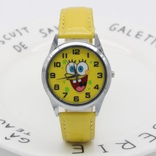 Spongebob dial boys and girls cute cartoon leather strap quartz watch