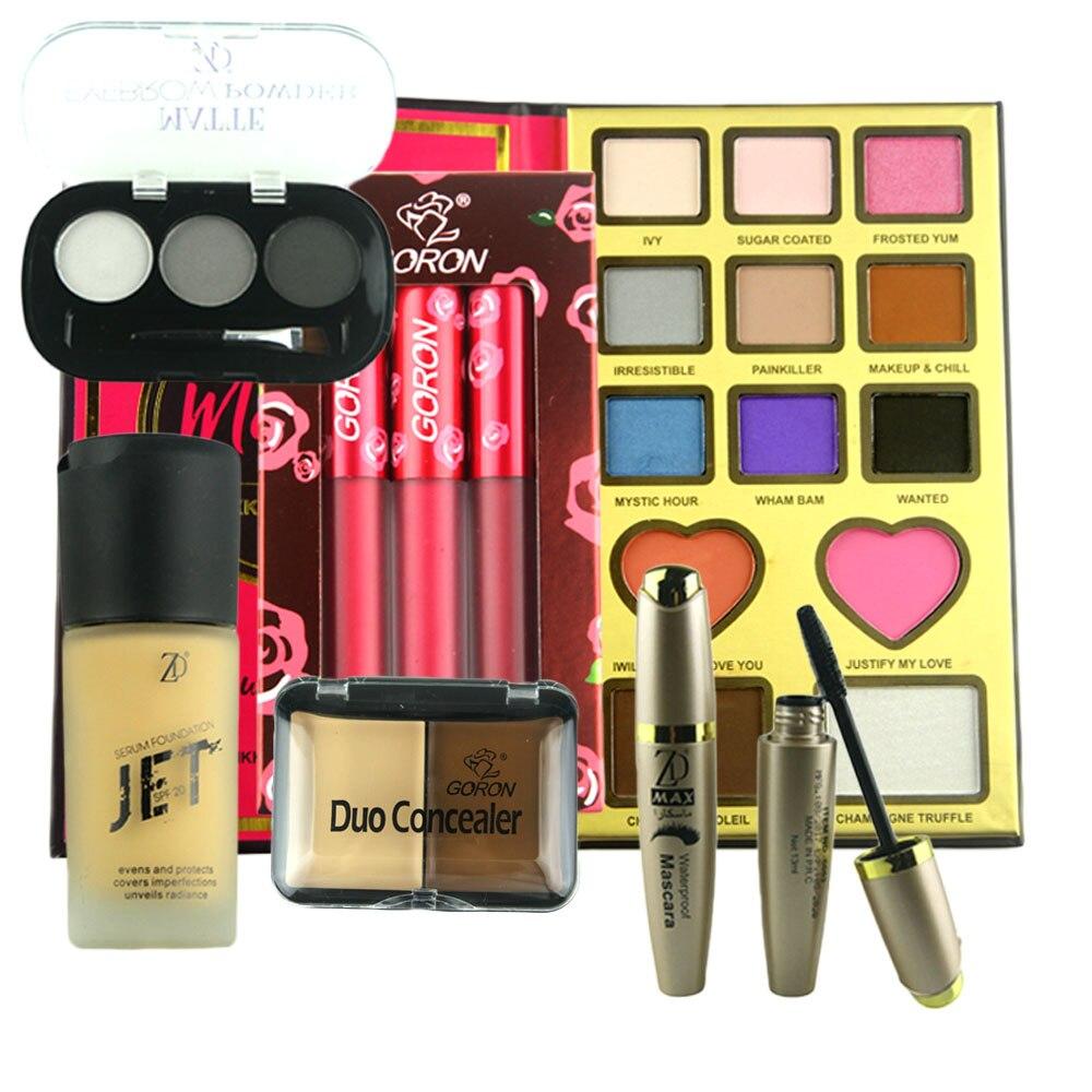 GORON 7Pcs Makeup Set Eye Shadow Blusher Contour Powder Palette Foundation Concealer Lip Gloss Mascara Eyeliner Kit MAKES07 цена