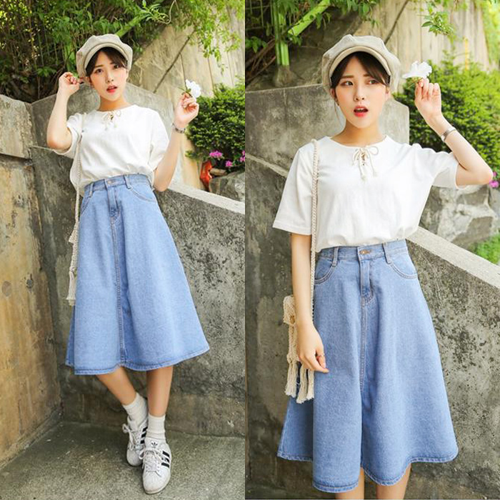New arrival light blue denim skirt a line skirt half length full ...