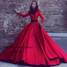 Neue Ankunft Muslimischen Rot Abendkleider Vintage Langarm Formale Kleid Schwarz Kristall Arabische Abendkleid Dubai Kleid Abiye