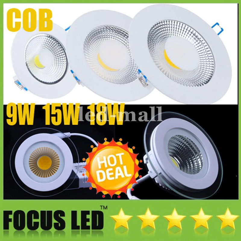 9W 15W 18W COB LED Panel Lights Downlights CRI>88 120 Angle Fixture Recessed Ceiling Down Lights Warm/Cool/Natural White 4500K
