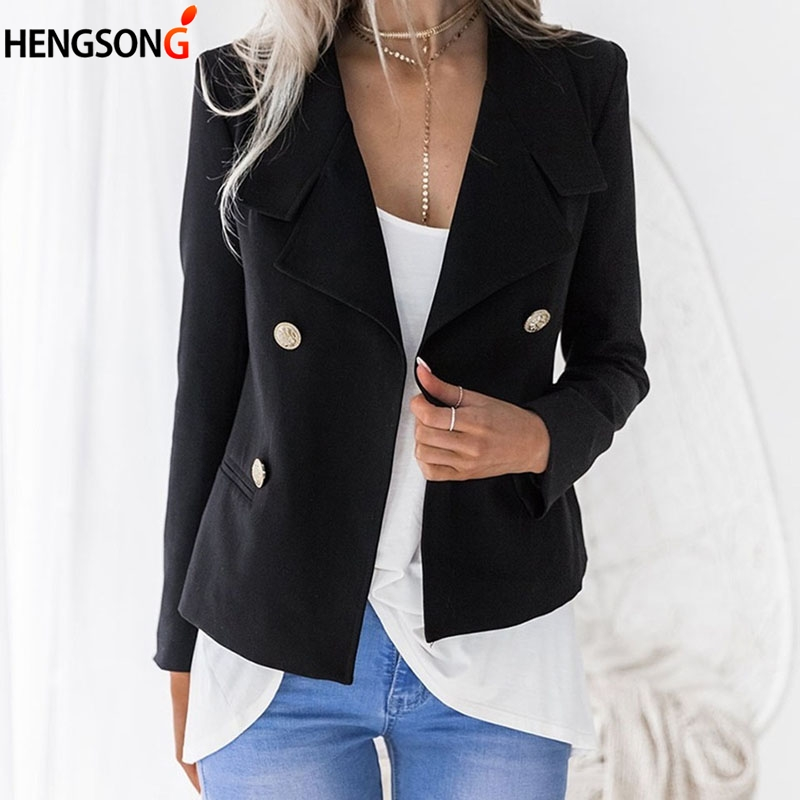 2018 New Short Ladies Blazers Double Breasted Black Women Blazer Suit Long Sleeve Slim Short Jacket Female Blazers Feminino