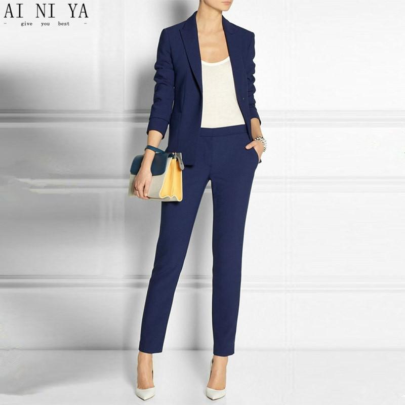 Navy Blue 2 Piece Set Wome Suits Blazer Suit Set Ladies Winter Formal Suits Womens Tuxedo Female ...