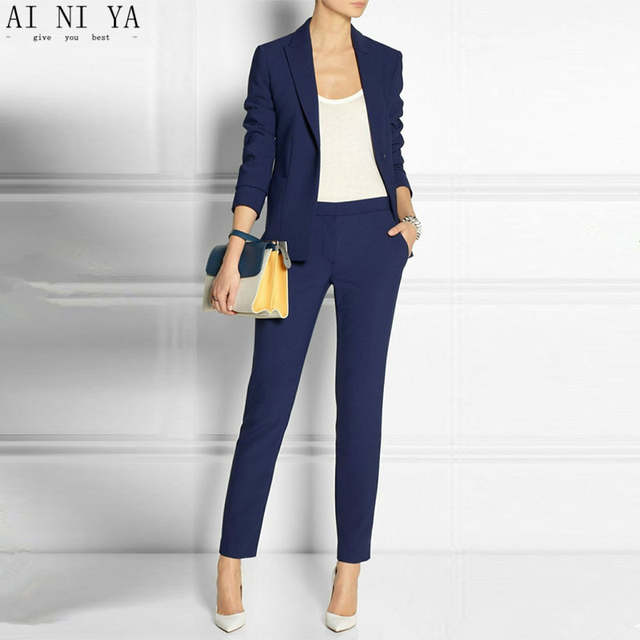 ddd0dd3153e placeholder Navy Blue 2 piece set wome suits blazer suit set ladies winter formal  suits womens tuxedo
