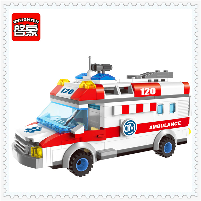 ENLIGHTEN 1118 Ambulance Nurse Doctor Patient Model Building Block 328Pcs Educational  Toys For Children Compatible Legoe 0367 sluban 678pcs city series international airport model building blocks enlighten figure toys for children compatible legoe