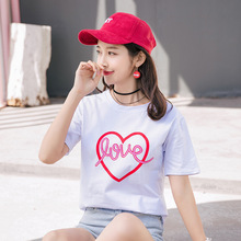 M red heart printing T-shirt womens summer loose fashion