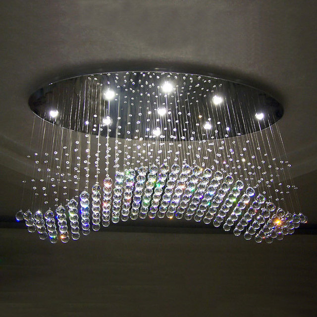 Free Shipping Oval Design Crystal Wave Lamp Re Led Home Chandeliers Modern Lighting