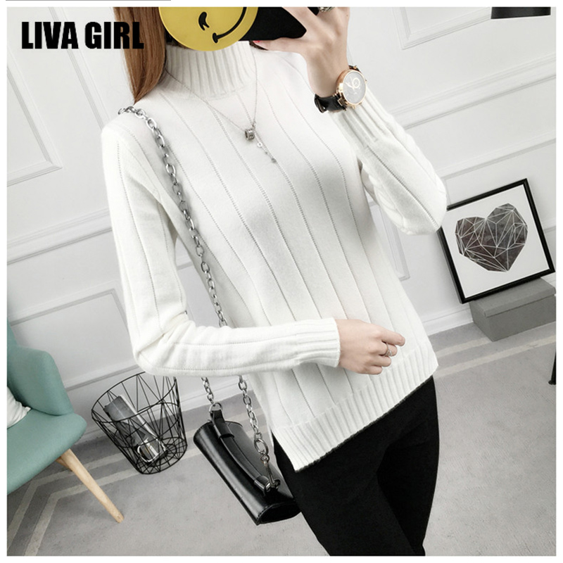 Knitting Sweater And Pullover For Women 2017 Autumn Winter Full Sleeve O Neck Striped Knitwear Female