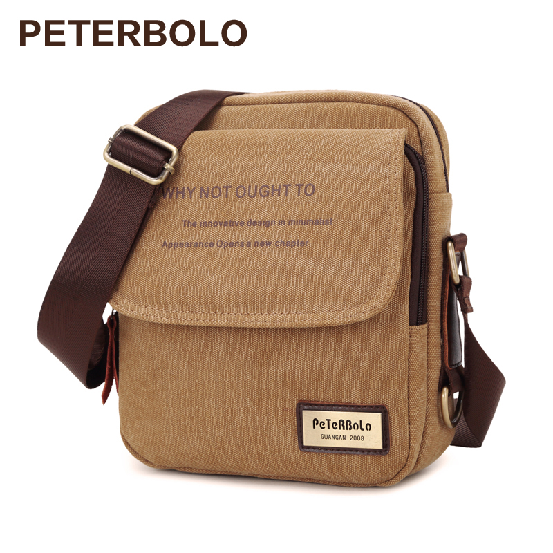 Peterbolo High Quality Vintage Men Bag Canvas Handbag Men Shoulder Bag Small Crossbody Bag high quality authentic famous polo golf double clothing bag men travel golf shoes bag custom handbag large capacity45 26 34 cm