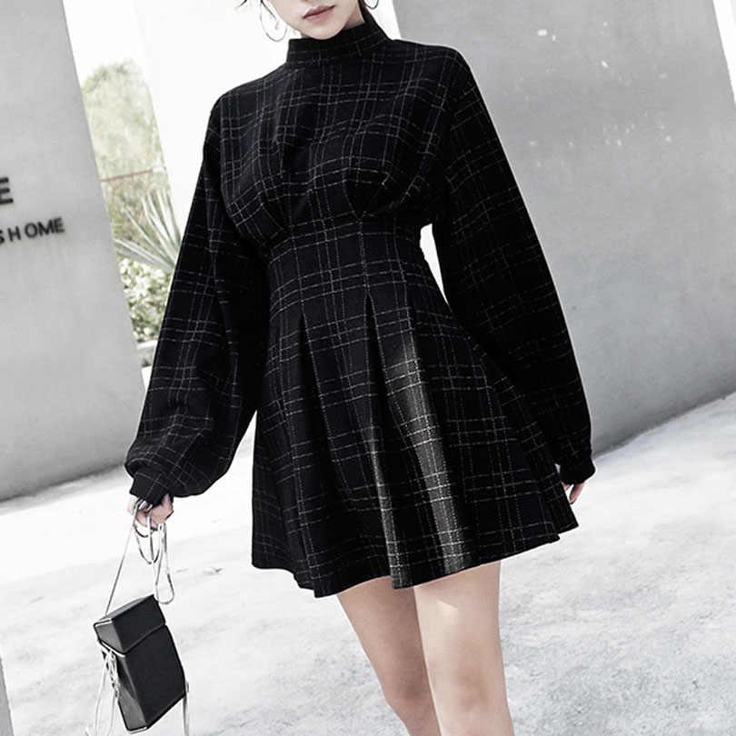 2020 printemps femmes Vintage Mini robe à manches longues Plaid a-doublé Style Punk gothique robes pour Goth filles femme rétro taille haute