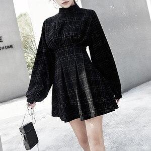 Image 4 - 2020 春の女性ミニドレス長袖チェック柄の裏地パンクスタイルゴシックゴスため女の子女性レトロハイウエスト