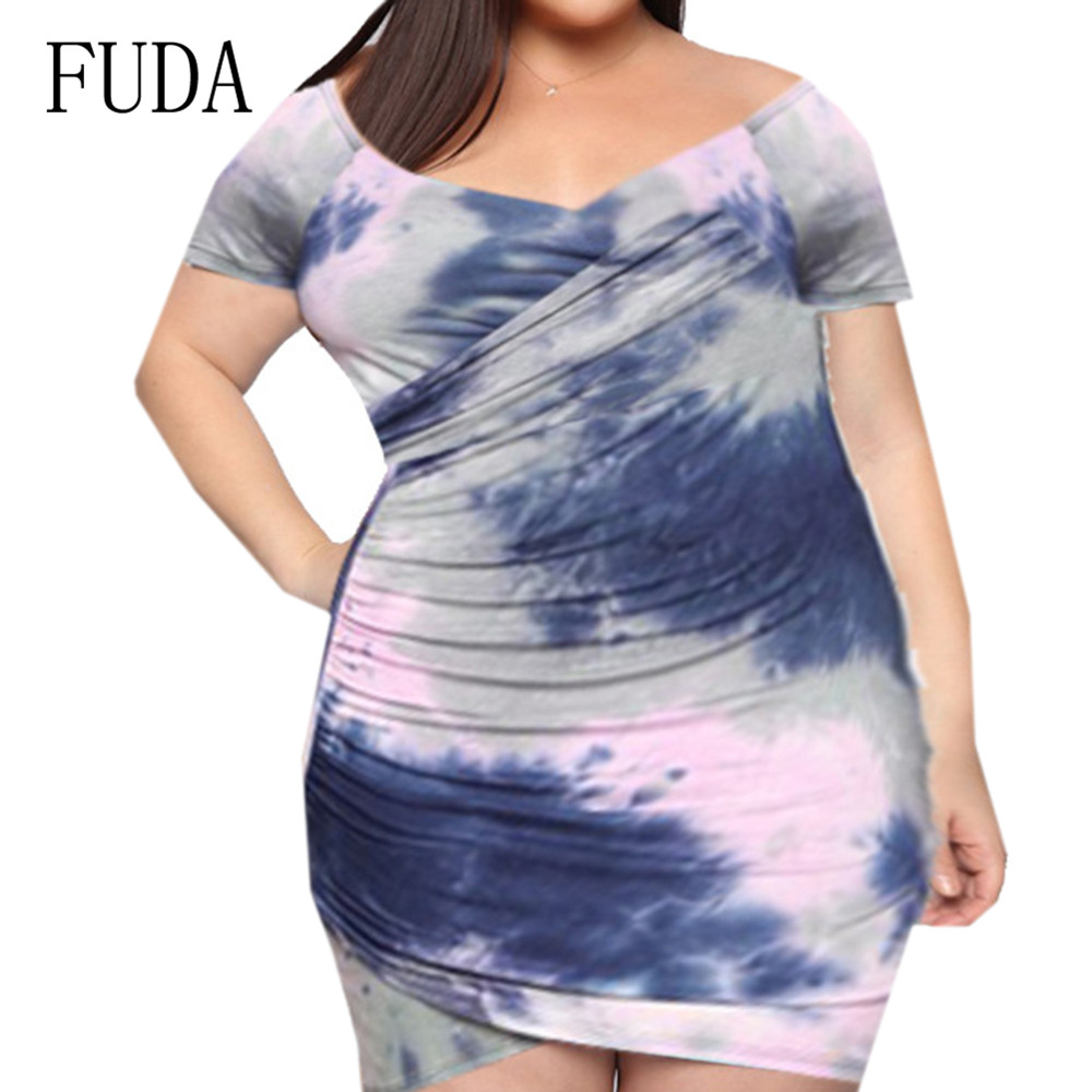 FUDA Sexy V-neck Mini Dress Summer Elegant Tie-dyed Printed Retro Women Hollow Out Patry Club Dresses Large Size 4XL