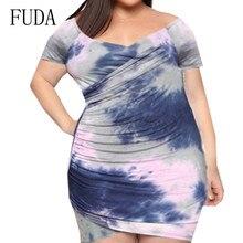 FUDA Sexy V-neck Mini Dress Summer Elegant Tie-dyed Printed Retro Dress Women Hollow Out Retro Patry Club Dresses Large Size 4XL цена и фото