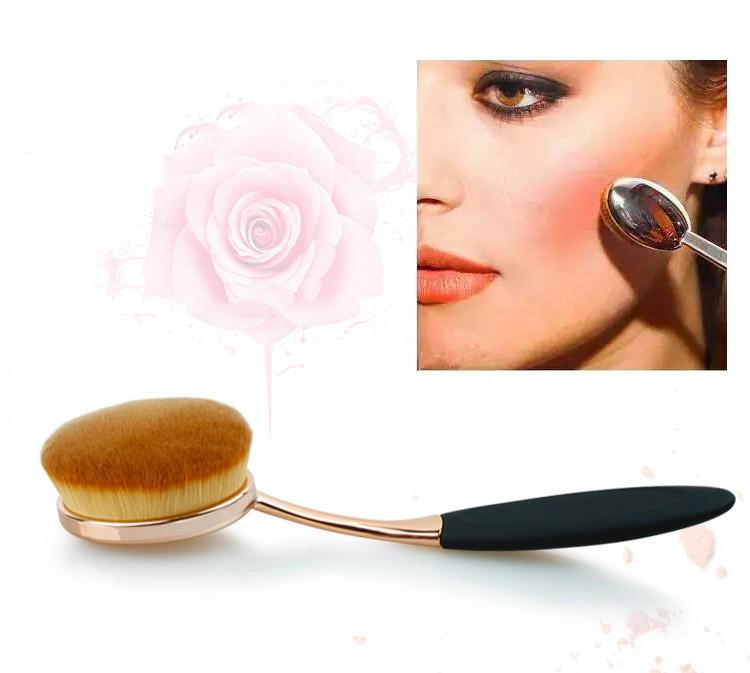 Toothbrush NEW Oval Shape Powder Foundation Makeup Brush Brushes Make up Eyebrow Beauty Tools Black Gold 10PCSset (4)