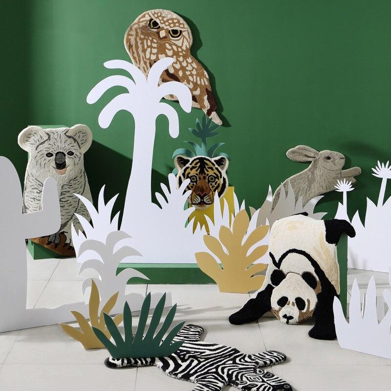 Chat hibou zèbre bête forme tapis Animal forme panda tapis koala zone tapis enfants salle de jeux tapis blanc noir gris tapis antidérapant