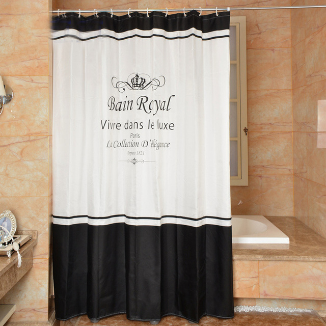 High Quality Royal Shower Curtains Polyester Waterproof Bathroom Curtain America Style Bath With Hooks