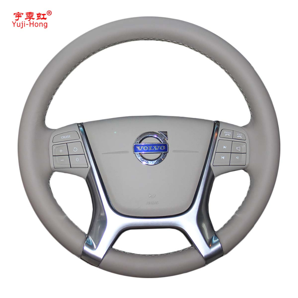 Yuji Hong Car Steering Wheel Covers Case for VOLVO S80 S80L XC60 2010 2013 Genuine Leather